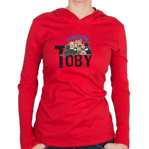 Fotografía del producto Playera Roja manga larga mujer Fundación Toby (26425)