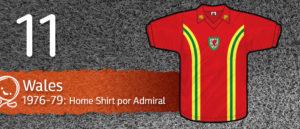 Jersey Fútbol Wales 1976-1979