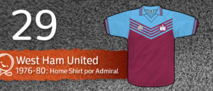 Jersey Fútbol West Ham United 1976-1980
